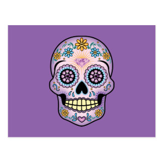 Purple Sugar Skull Postcard