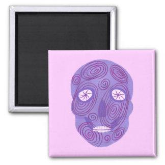 Purple Sugar Skull with Pink Swirls Magnet