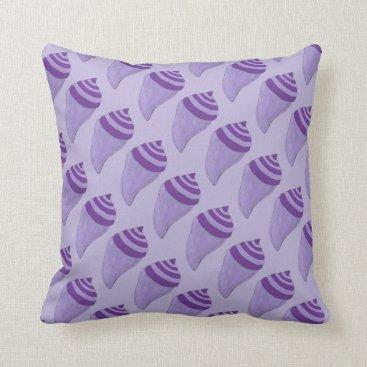 Beach Themed Purple Summer Shells Seashells Beach Pillow