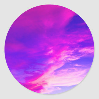 Purple Summer Sky Classic Round Sticker