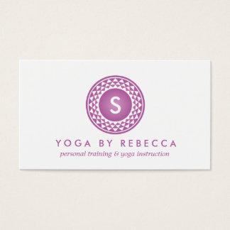PURPLE SUN LOGO MONOGRAM for YOGA STUDIO, TEACHER Business Card