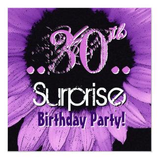 Purple Sunflower 30th Surprise Birthday Template Invitation
