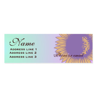 Purple Sunflower Business or Name Card Double-Sided Mini Business Cards (Pack Of 20)