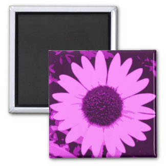 Purple Sunflower 2 Inch Square Magnet