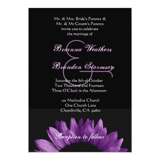 Purple Sunflower Wedding Ver 002 Card