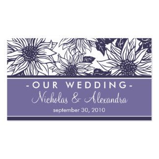 Purple Sunflowers Wedding Website Card Double-Sided Standard Business Cards (Pack Of 100)