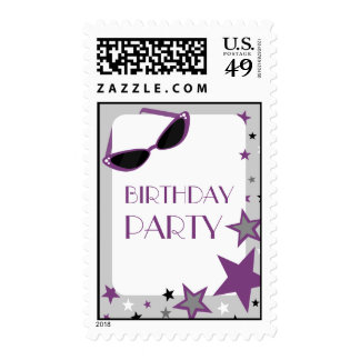 Purple Sunglasses & Stars Birthday Party Postage Stamps