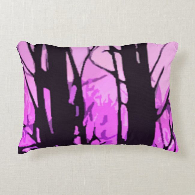 Purple Sunset Abstract Stained Glass Accent Pillow