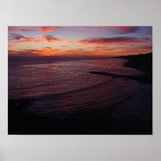 Purple Sunset at Royal Palms Beach Poster