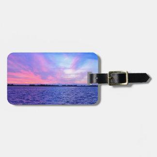 Purple sunset bag tag