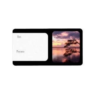 Purple Sunset Nature Photo Gift Tags Sheet