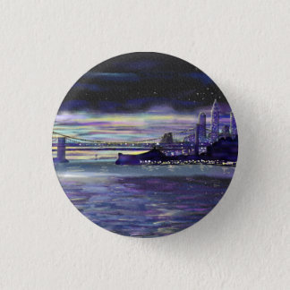 Purple sunset over New York City painting Button
