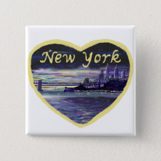 Purple sunset over New York City painting Pinback Button