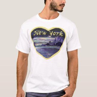 Purple sunset over New York City painting T-Shirt