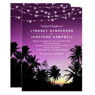Purple Sunset Palm Tree Beach Lights Wedding Card