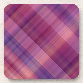 Purple sunset plaid beverage coasters