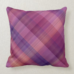 Purple sunset plaid throw pillows