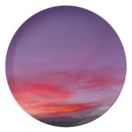 Purple sunset dinner plate