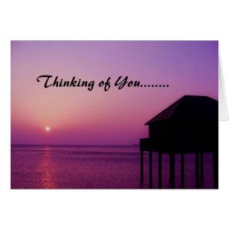 Purple Sunset Thinking of You - Card