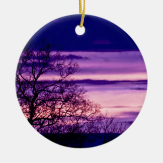 Purple Sunset Tree Silhouette ornament