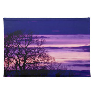 Purple Sunset Tree Silhouette placemat