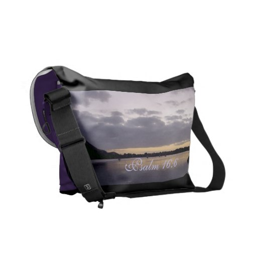 Purple Sunset Watercolor - Psalm 16:6 Courier Bags