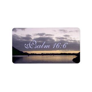 Purple Sunset Watercolor - Psalm 16:6 Label