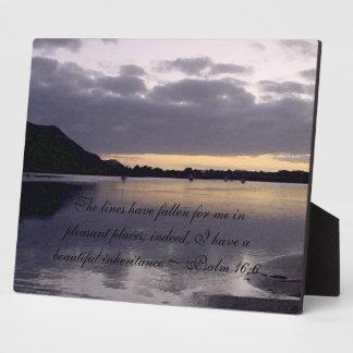 Purple Sunset Watercolor - Psalm 16:6 Plaque