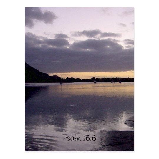 Purple Sunset Watercolor - Psalm 16:6 Postcard