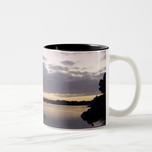Purple Sunset Watercolor - Psalm 16:6 Two-Tone Coffee Mug