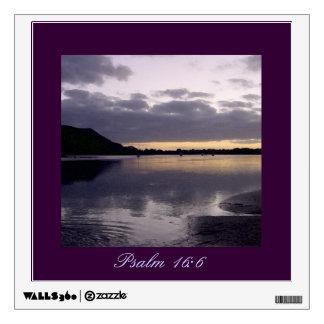 Purple Sunset Watercolor - Psalm 16:6 Wall Sticker