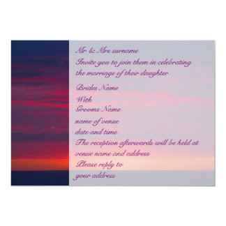 Purple Sunset Wedding 5x7 Paper Invitation Card
