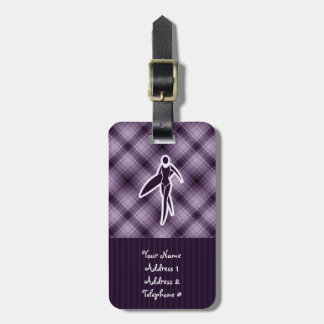 Purple Surfing Girl Tags For Bags