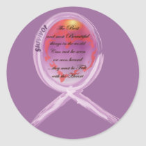 Purple Survivor Ribbon Surrounds Words to Live By Classic Round Sticker