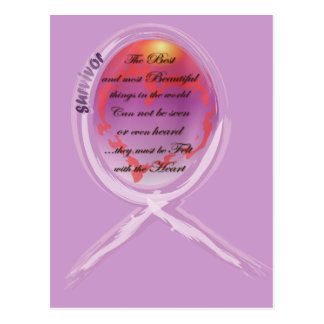 Purple Survivor Ribbon Surrounds Words to Live By Postcard