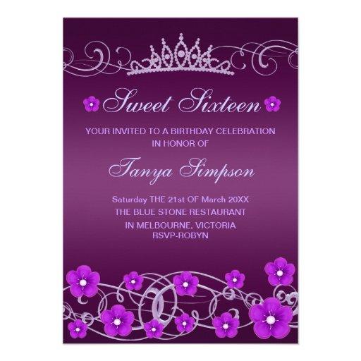 Purple Sweet16 Flower & Tiara Birthday Invite
