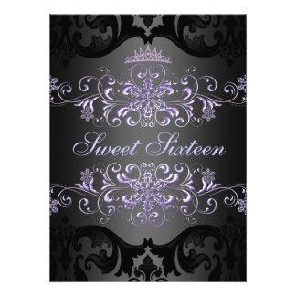 Purple Sweet16 Tiara Damask Birthday Invite