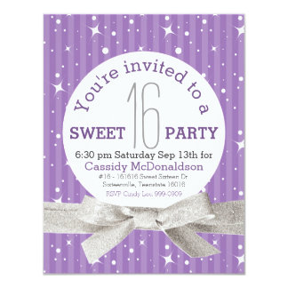 Purple Sweet 16 Birthday Party Card