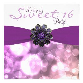 Purple Sweet 16 Birthday Party Card