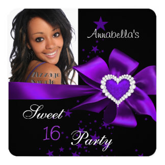 Purple Sweet 16 Birthday Party Heart Photo Card