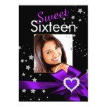 Purple Sweet 16 Birthday Party Heart Photo Stars Personalized Invitations