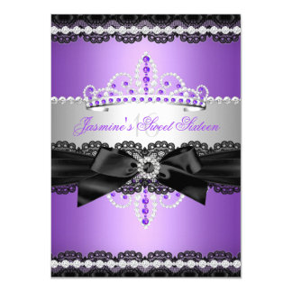 Purple Sweet 16 Birthday Party Silver Black Lace Card