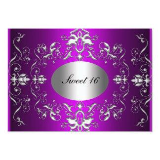 """Purple Sweet 16 Elegant Birthday Invitation 5"""" X 7"""" Invitation Card"""