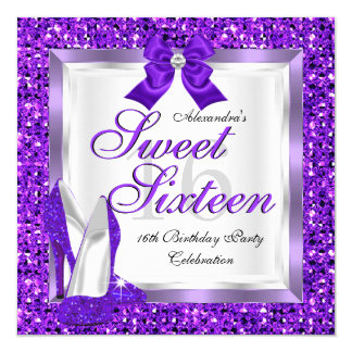 Purple Sweet 16 Party Sweet Sixteen Silver glitter 5.25x5.25 Square Paper Invitation Card