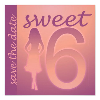 Purple Sweet 16 Save the Date Personalized Announcements