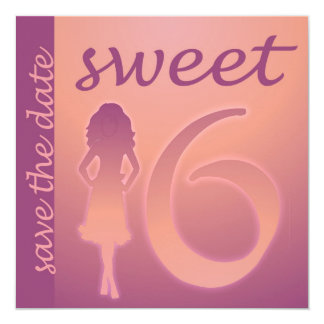 """Purple Sweet 16 Save the Date 5.25"""" Square Invitation Card"""