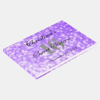 Purple Sweet 16 Silver Glitter Custom Guest Book