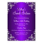 Purple Sweet 16 Silver Pearl Damask 5x7 Paper Invitation Card