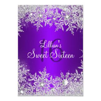 Purple Sweet 16 Snowflake Winter Wonderland Card