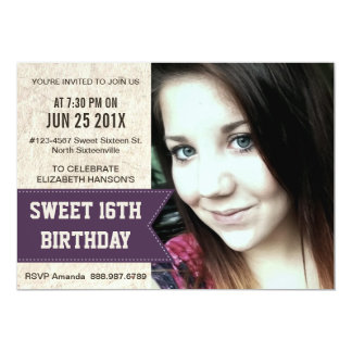 Purple Sweet 16th Birthday Party with large Photo Card
